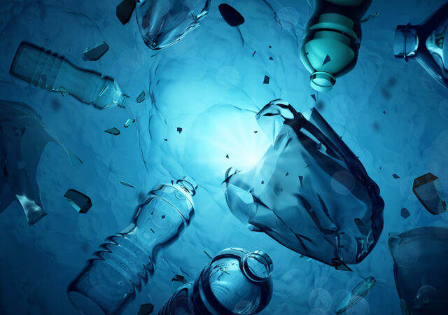 Plastic Waste Floating In The Open Ocean