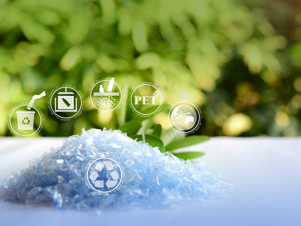 A Pile of PET bottle flakes with green tree blur background.