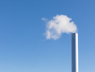 Steaming chimney of an incinerator